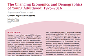 The Changing Economics and Demographics of Young Adulthood: 1975-2016